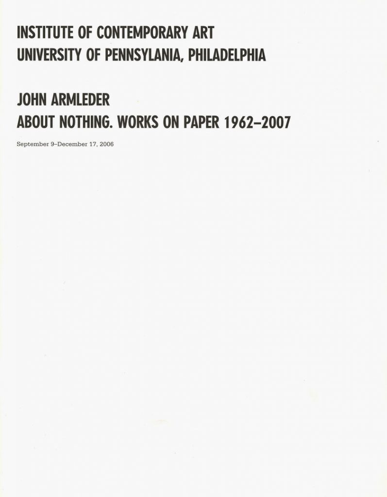 John Armleder: About Nothing. Works on Paper 1962–2007 product image